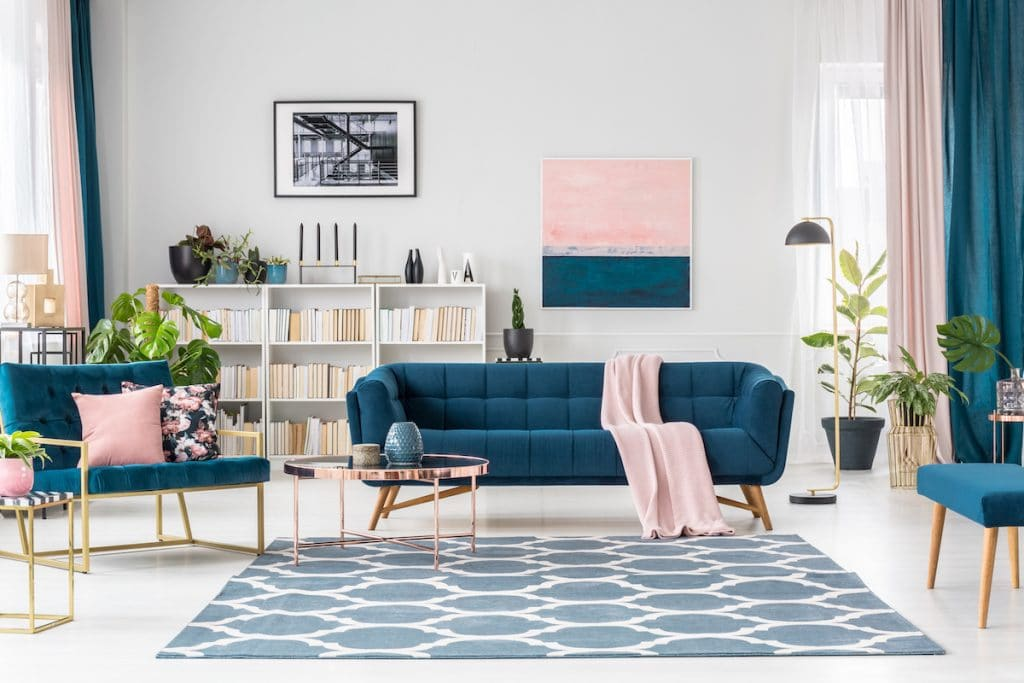 Salon contemporain délimité par un tapis